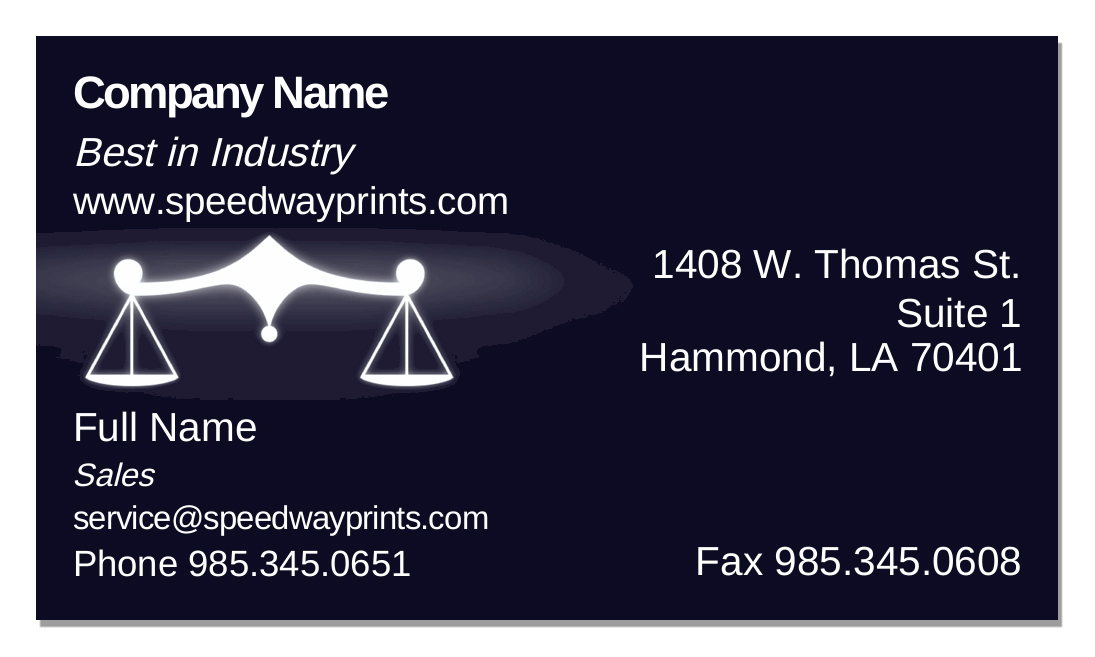 Speedway printing hammond la scales of justice business card id b73 867831 reheart Images