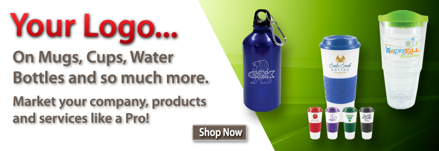 Logo Cups, Mugs, Water Bottles and More